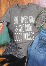 She Loved God And She Rode Good Horses women fashion t shirt aesthetic tumblr grunge cotton t-shirt tees