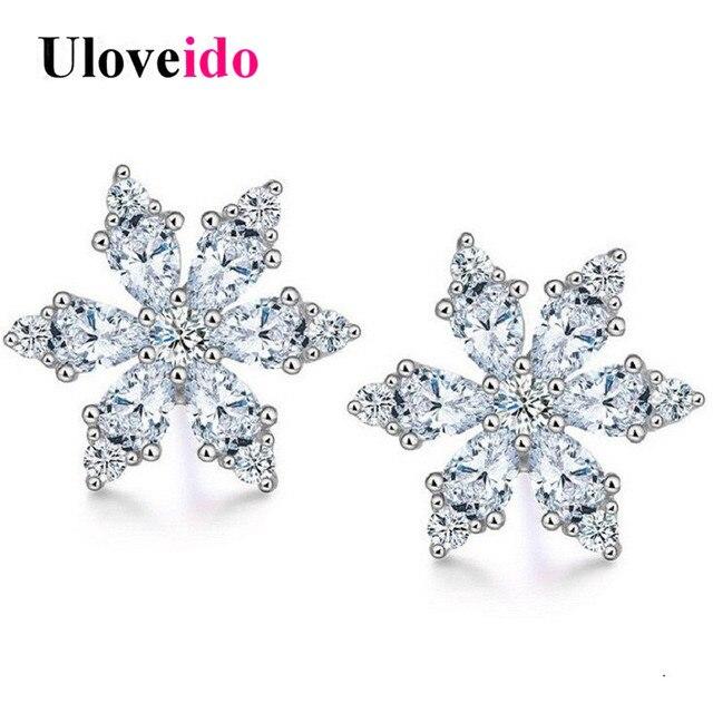 Uloveido Snowflake Stud Earrings For Women Cute Silver 925 Crystal Earings Costume Jewelry Earring Bijoux With