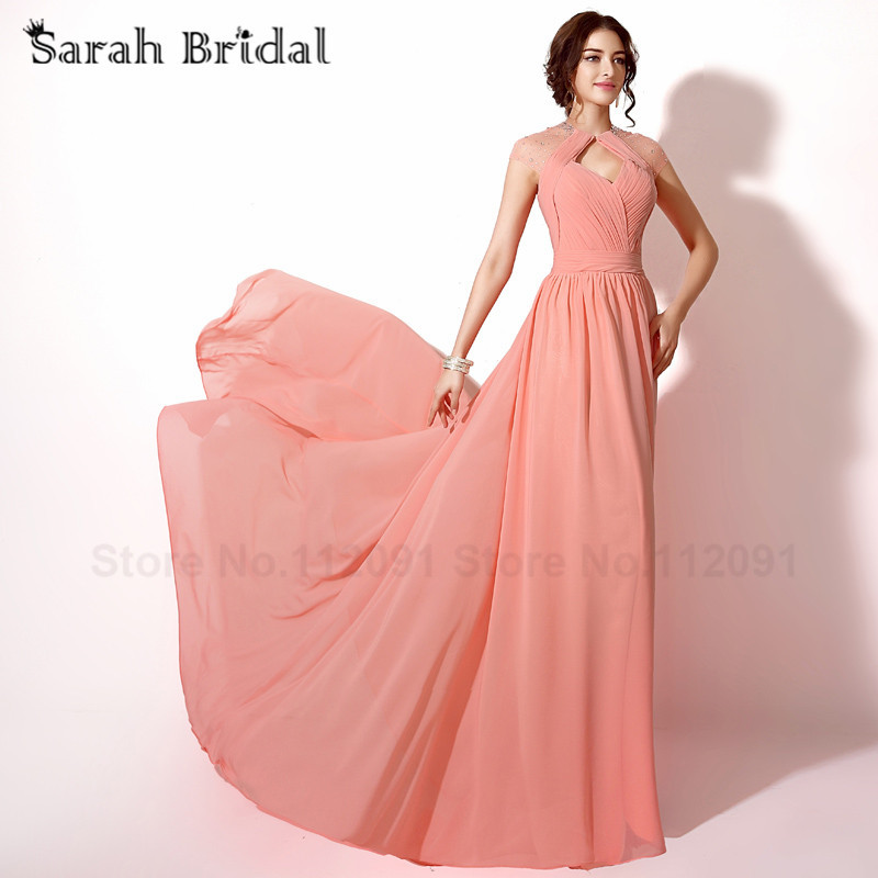 Coral Pleated Chiffon Prom Dresses Cut Out Back Sexy Sheer Neckline ...