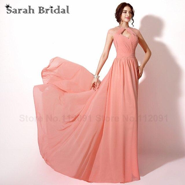 a49a1cec5f Coral gasa plisada Vestidos de baile detrás cortados sexy Sheer escote  Vestidos de noche con cristal