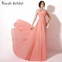 Coral Pleated Chiffon Prom Dresses Cut Out Back Sexy Sheer Neckline Evening Dresses With Crystal Vestidos
