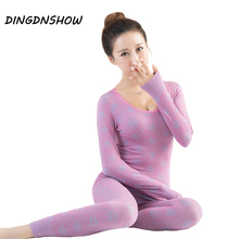 [DINGDNSHOW] Winter Thermal Underwears Print Slim Body Shaped Clothes Warm Long Johns Wool Ladies Seamless Antibacterial Sets