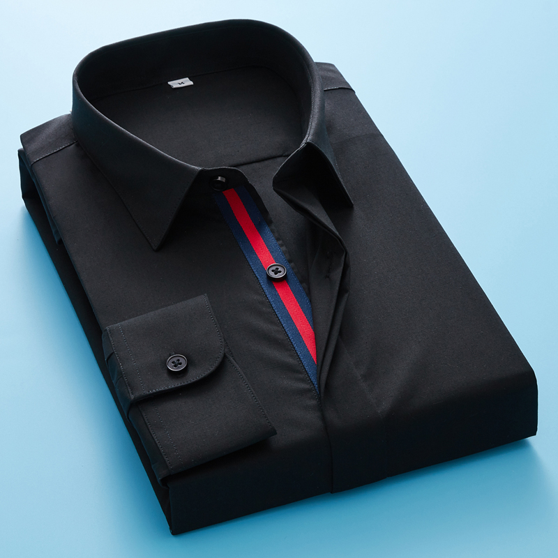 Long Sleeve Shirt Men's Casual Fashion High Quality  Mens Long Sleeve Solid Oxford Dress Shirt