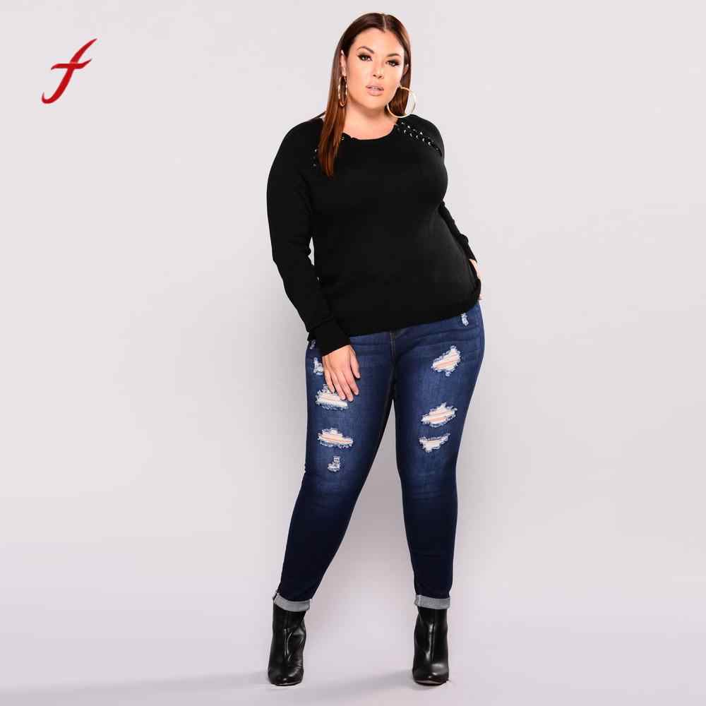 5a4a7352a9e Feitong New Arrival jeans woman Plus Size Ripped Stretch Slim Denim Skinny  Jeans women High Waist