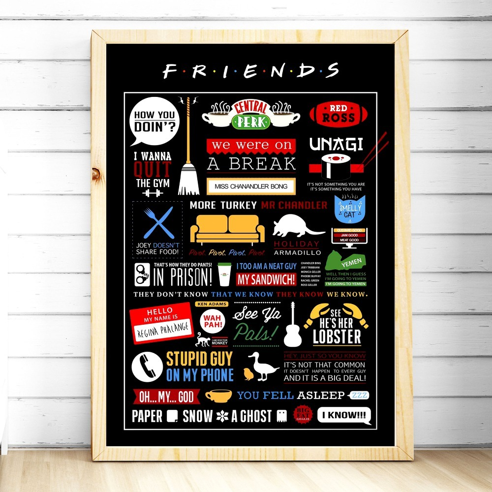 Tv Show Poster Friends American Drama Movie Vintage: Friends TV Show Classic Quote Posters And Prints Wall Art