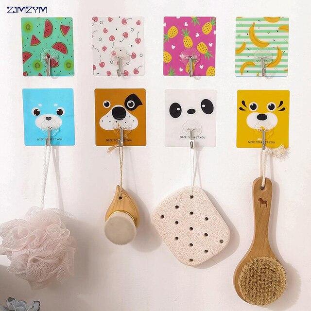 1pc creative cartoon waterproof adhesive hooks for walls seamless strong adhesive hooks strong wall hook hanger