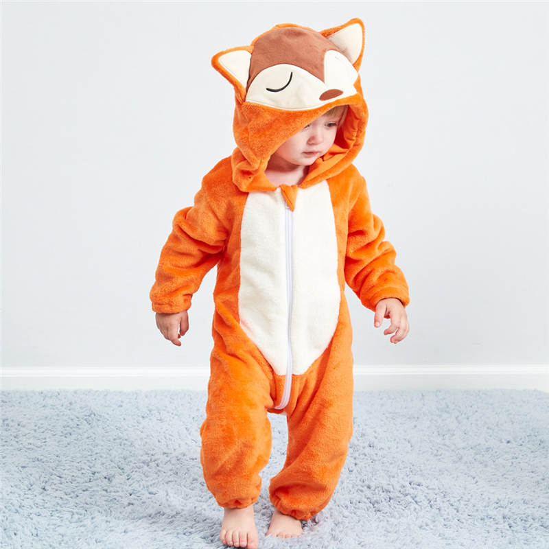 Newborn Baby Clothes cartoon hooded flannel jumpsuit Baby Girl Boy Cartoon Animal Flannel Romper Jumpsuit Warm Clothes