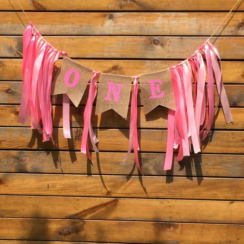 Meninos e Meninas Um Ano de Fita de Seda Cadeira Serapilheira Conjunto Um Aniversário Decoração Do Partido Bunting Bandeira Azul/Rosa Banners