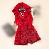 Трикотажные норки Меховой жилет роскошные женские на осень зиму теплый красный черный серый коричневый фиолетовый с капюшоном Жилет из нат