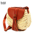 BRIGGS Fashion Tassel Circular Handmade Straw Bag +PU Leather Women Messenger Bags Famous Brand Women's Shoulder Bags