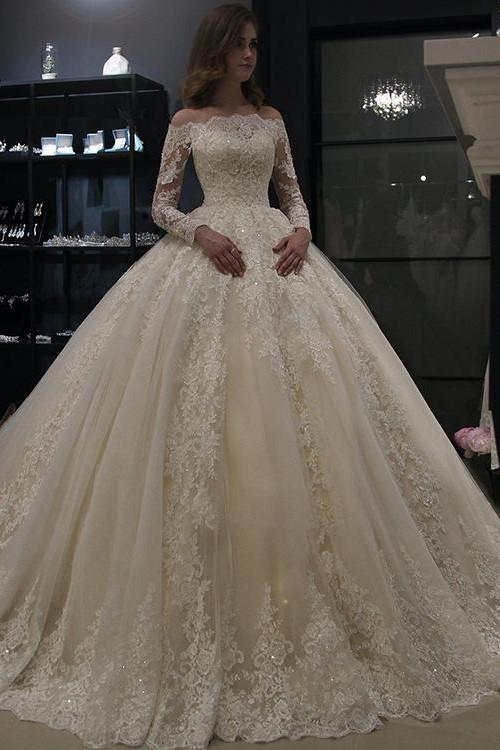 Us 152 0 5 Off Vestido De Noiva 2019 Muslim Wedding Dresses Ball Gown Strapless Long Sleeve Lace Dubai Arabic Wedding Gown Ivory Bride Dress In