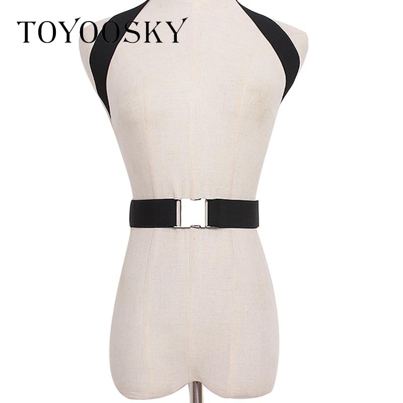 TOYOOSKY 2019 New Brand Elastic Women Belts 4 Colors Harness Cross Metal Buckle Catwalk ConcaveHanging Neck Strap