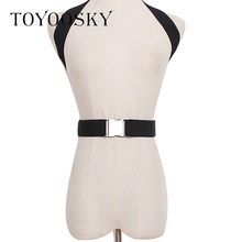 TOYOOSKY 2019 New Brand Elastic Women Belts 4 Colors Harness Cross Metal Buckle Catwalk ConcaveHanging Neck Strap