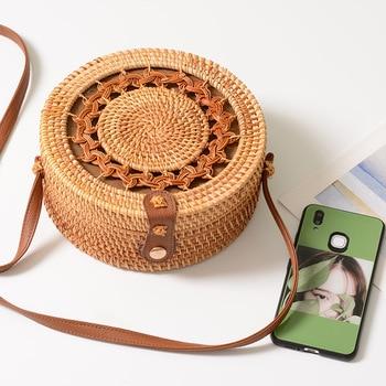 Rattan Bags for Women 2019 Hollow Out Shoulder Bag Ladies Wooden Beach Handbags Travel Cross body Strap Bag 3