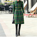 Vintage Winter Dress Plaid Wool Blend A-Line Sashes Knee-Length Turn-Down Collar Plus Size Winter Dress with Long Sleeves 5822