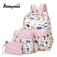 Блестящий камень 3 шт./компл. женские комплекты с сумкой для девочек ткань рюкзаки с рисунком динозавров женские розовые сумки большой Ёмкость опрятные стили