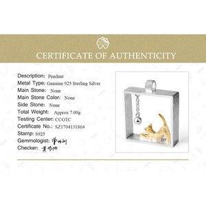 Image 5 - Lotus fun real 925 prata esterlina natal jóias finas 18k ouro moda gato jogando bolas pingente sem colar para mulher