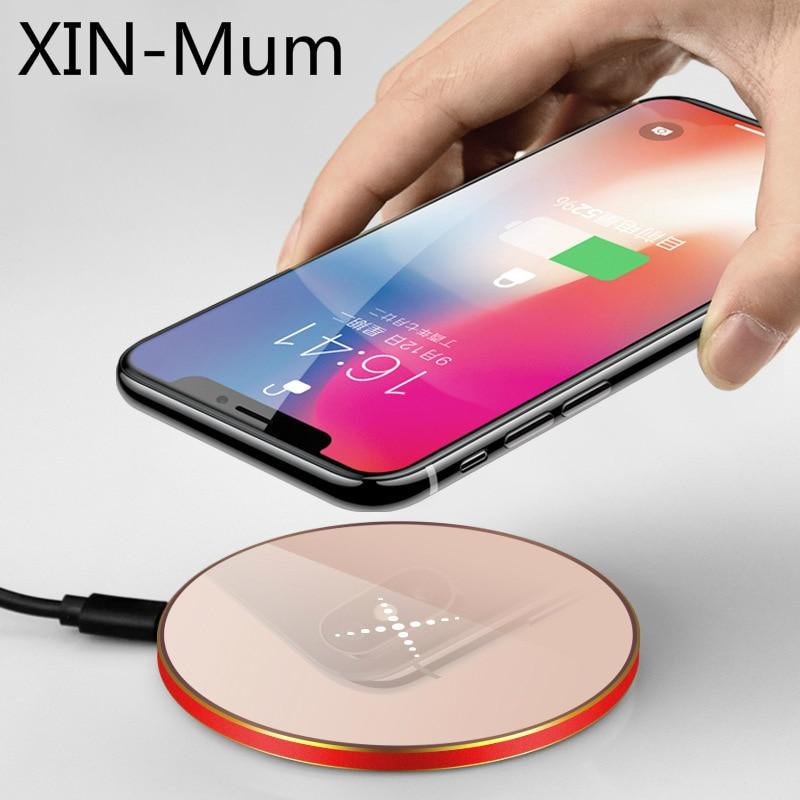 Chargeur sans fil ultra-mince circulaire QI chargeur sans fil en alliage d'aluminium pour Iphone 8 8plus X Galaxy S6 7 Edge S8 9 Plus