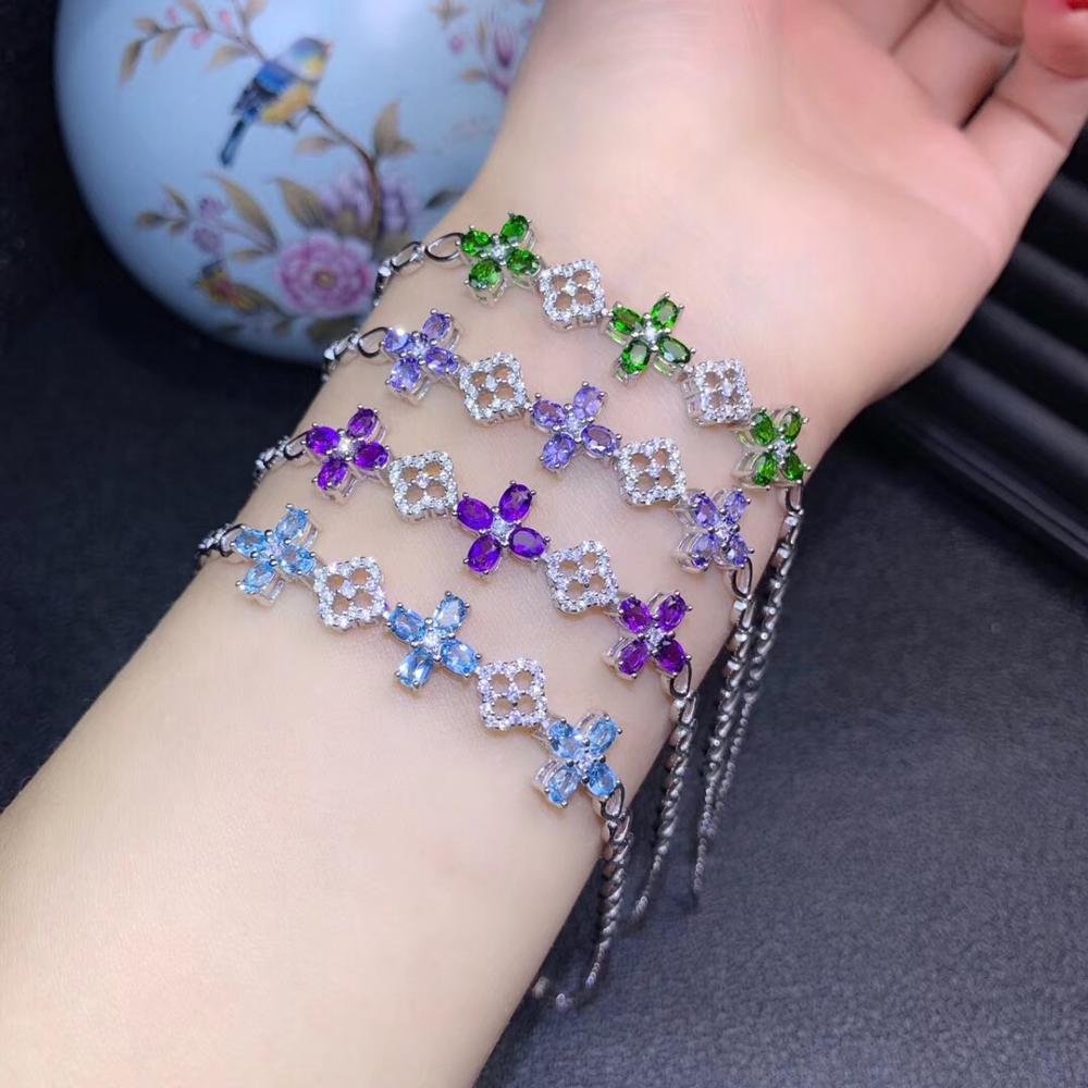fashion green blue purple color gem <font><b>bracelet</b></font> for women fine jewelry certified natural gem Tansanite Topaz flower 925 silver gift image