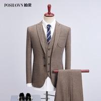 Poshawn 2018 хаки Ретро лен мужской костюм свадьба жених мужские slim fit Бизнес Повседневная Рабочая костюм (куртка + жилет + брюки)