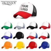 TRUENJOY logotipo personalizado hombres mujeres gorra de béisbol de malla  ajustable Snapback Hip Hop sombrero Unisex 9484c3b24e2