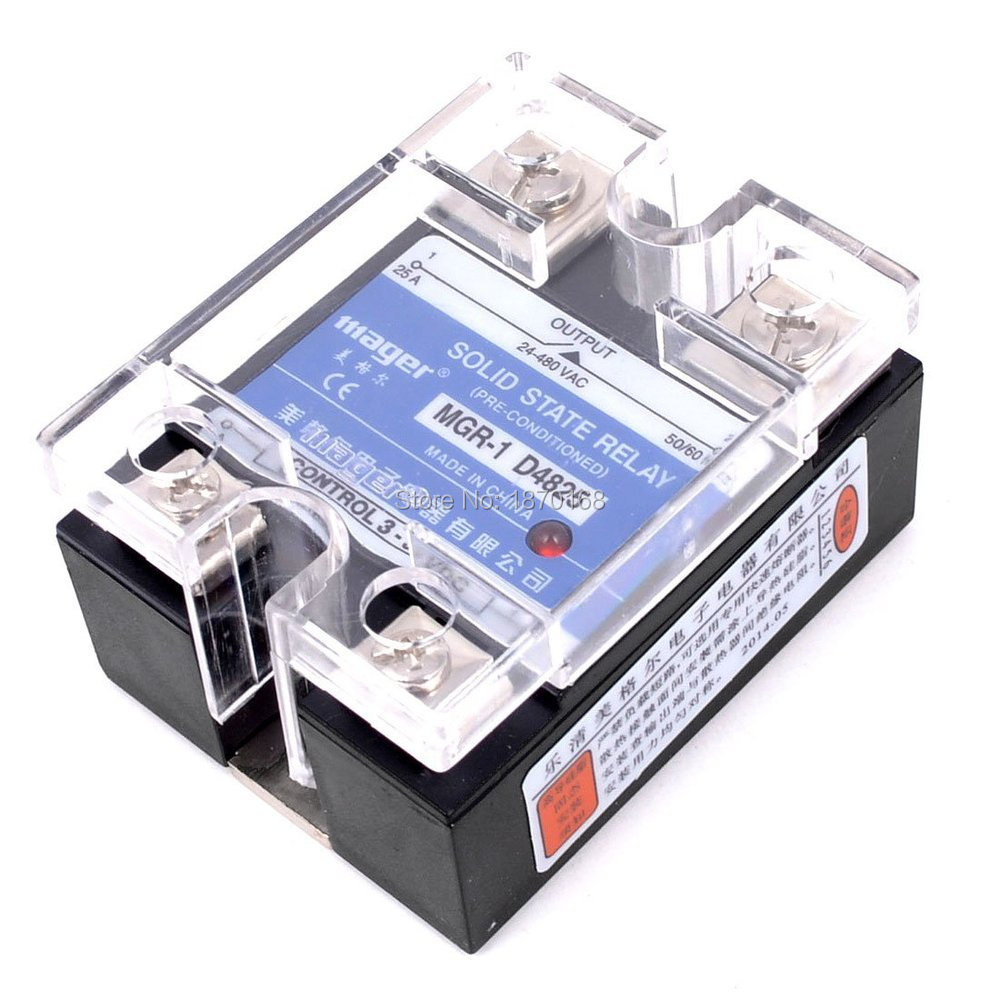 Mgr-1 D4825 fase tunggal Solid State relay, Ssr 25A DC 3 - 32 V AC 24 - 480 V ssr 25a single phase solid state relay dc control ac mgr 1 d4825 load voltage 24 480v