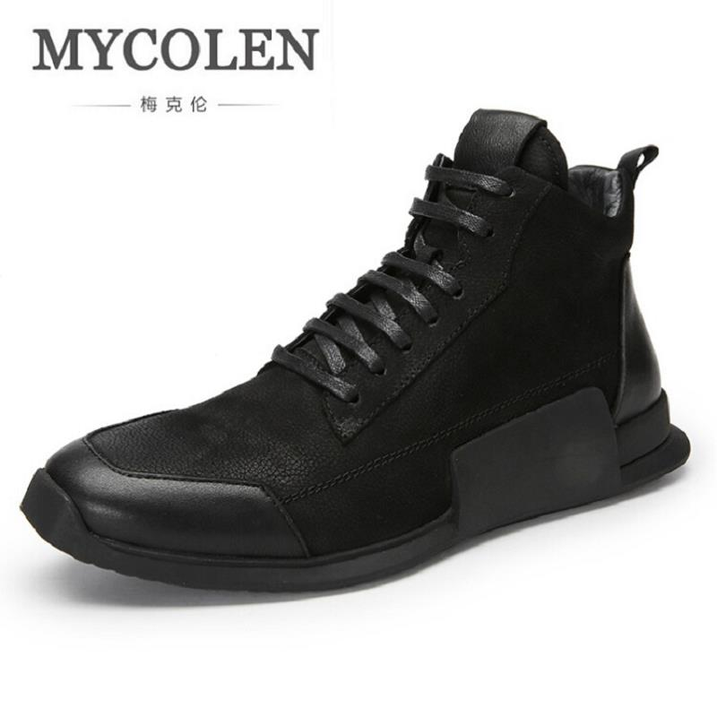 MYCOLEN Newly Man Fashion Casual Shoes Leather Soft Spring Autumn Student Youth Trend Shoes Black men sneakers zapato hombre spring autumn casual men s shoes fashion breathable white shoes men flat youth trendy sneakers