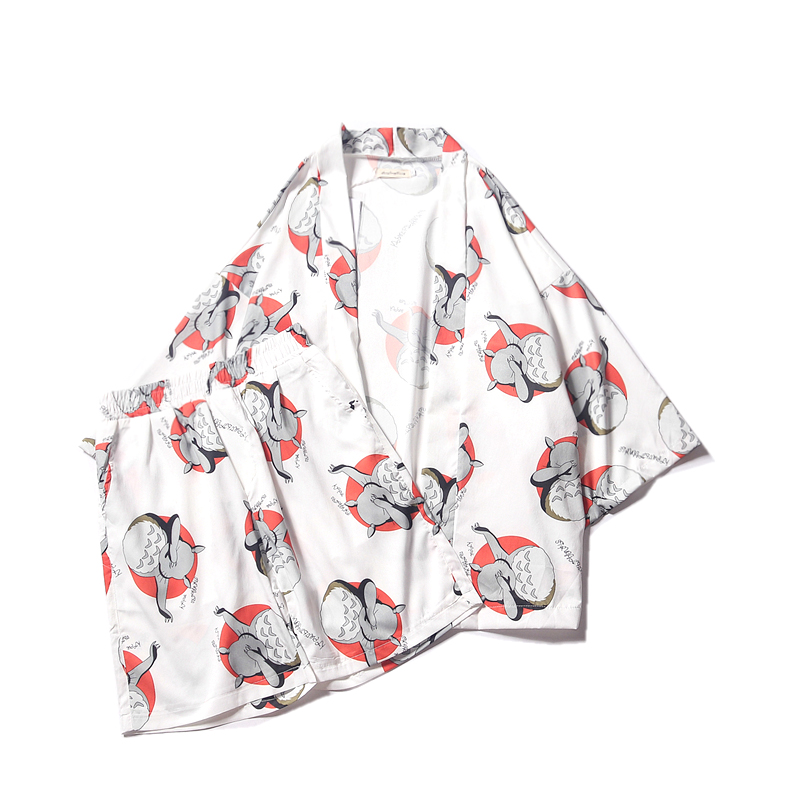 Harajuku Japonés Cardigan Traje Cuartos Abrigo Estudiante Blusa Casual Tres Verano Bf Estilo Suelta Cartoon Fun Kawaii Kimono Rqw5xF1q4