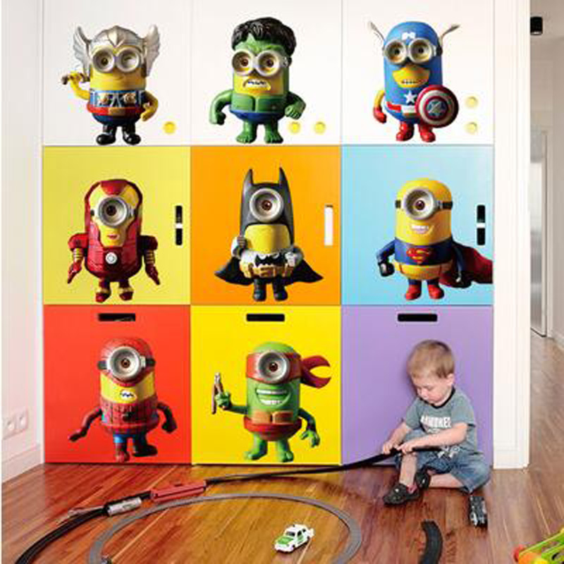 HOT SALE Minions Avengers anime posters kids wall decals vinyl ...
