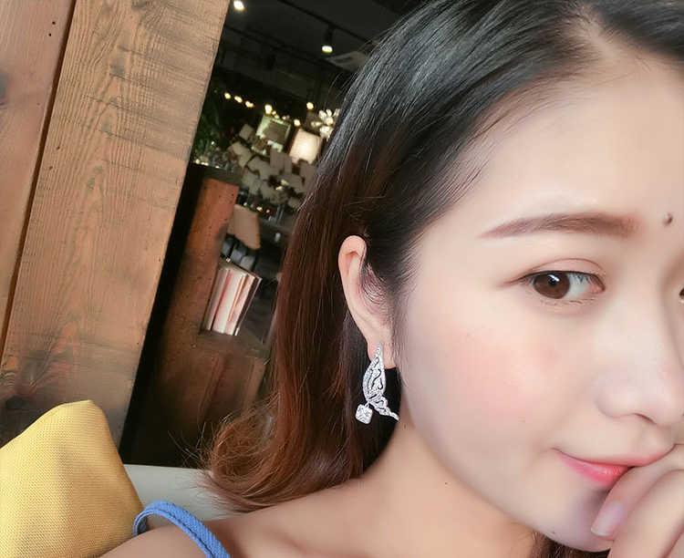 אופנה חלול כנפי קריסטל להתנדנד עגילי ריינסטון פרפר ציצית ארוך תליון עגיל כסף צבע קסם תכשיטים