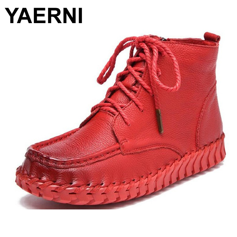 YAERNI Antumn Winter Women Boots Vintage Genuine Leather Soft Outsole Shoes Handmade Full Grain Leather Ankle Boots For women genuine leather handmade women s shoes spring cutout cool women boots hole shoes vintage soft outsole flat sandals s31904 19
