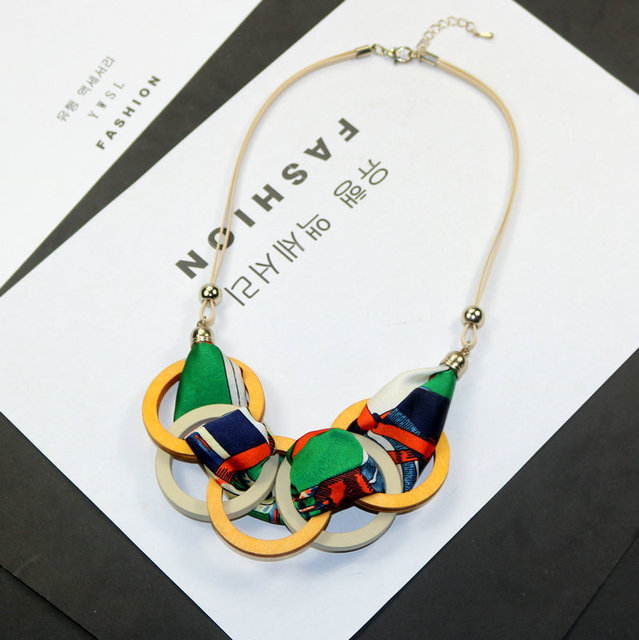 3403ffa959b Personality New Woman Necklaces Geometric Wood Big Circle Fabric Pendant  Short Sweater Rope Chain Necklace Fashion Accessories
