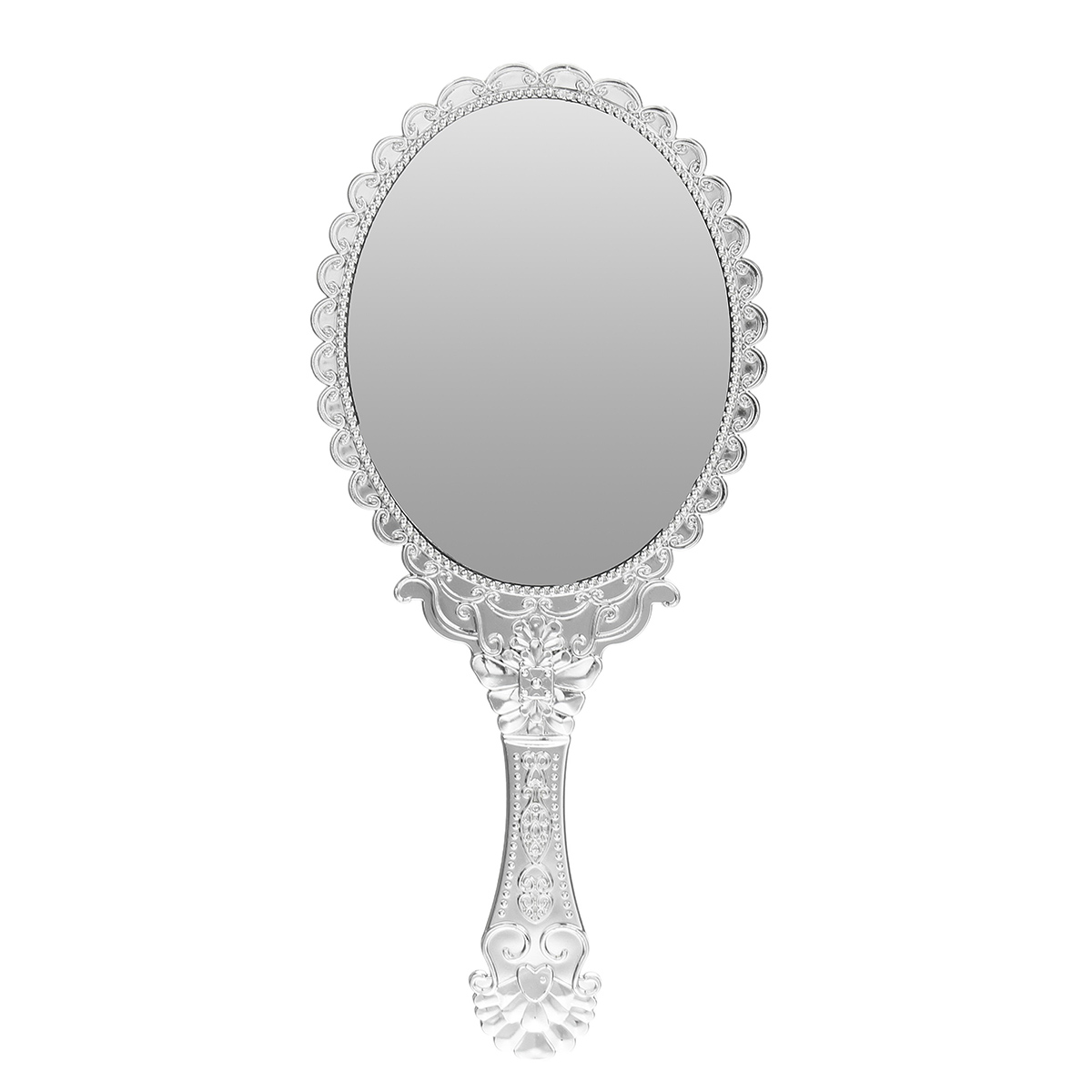1pcs Cute Silver Vintage Ladies Floral Repousse Oval Round Makeup Hand Hold Mirror Princess Lady Makeup Beauty Dresser Gift