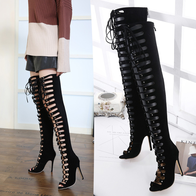 9837f93e3521 Sexy lace up boots Thigh High Gladiator Sandals Boots Women Peep Toe pumps  Over Knee Gladiator Boots High Heel Sandal Boots X342