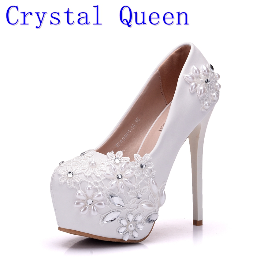 Crystal Queen New High Heels Bridal Wedding Shoes White Rhinestones Lace Wedding Pumps Shoe Spring Summer Bridesmaid Shoes new arrival white wedding shoes pearl lace bridal bridesmaid shoes high heels shoes dance shoes women pumps free shipping party