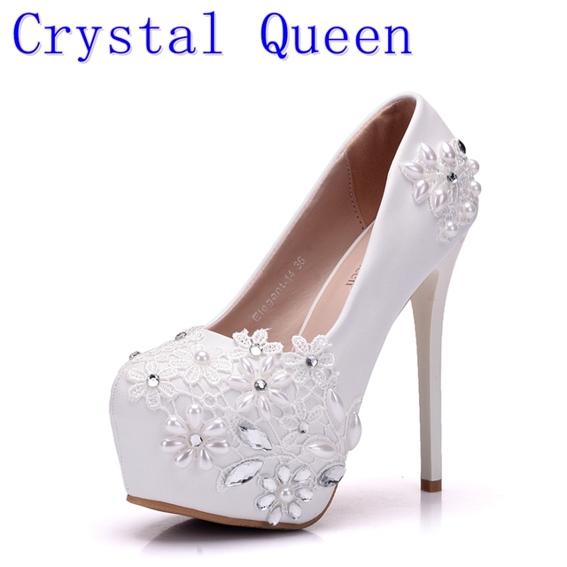 Crystal Queen New High Heels Bridal Wedding Shoes White Rhinestones Lace Wedding  Pumps Shoe Spring Summer Bridesmaid Shoes 1fc756a8ed8a