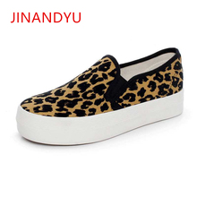 2019 Spring Leopard Women Flats Brand Design Classic Canvas Shoes Platform Sneakers Chic Creepers Zapatos Mujer Buty