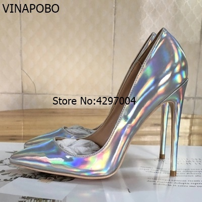 Vinapobo Sexy Women High Heels 2018 Shiny Stiletto Heels Patent Leather  Ladies Pumps Pointed toe Metallic Sliver Wedding Shoes 434b3b798569