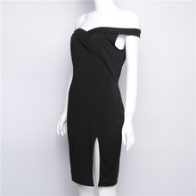 MUZEAL Slash Neck Short Sleeve Slit Dress Sexy Off Shoulder Black/Wine Solid Color Party Club Lady Casual Dress Vestido 208