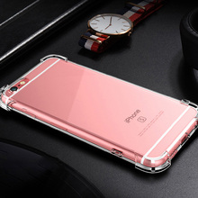 Купить с кэшбэком Ultra thin Clear Transparent TPU Silicone Case For iPhone 5s se 6 6s 7 8 Plus X XS MAX XR Four-Corner Airbag Protection Case