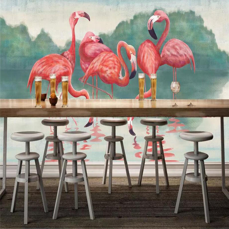 Tropical Rainforest Flamingo Background Wall Customized Large Wallpaper Mural 3D Photo Wall Factory Wholesale in Fabric Textile Wallcoverings from Home Improvement