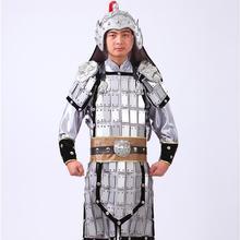 Китайский солдат равномерное Китай Командир Hanfu Общие Костюм Серебряный шлем броня Фильм Древний Костюм косплей лидер Туалетный