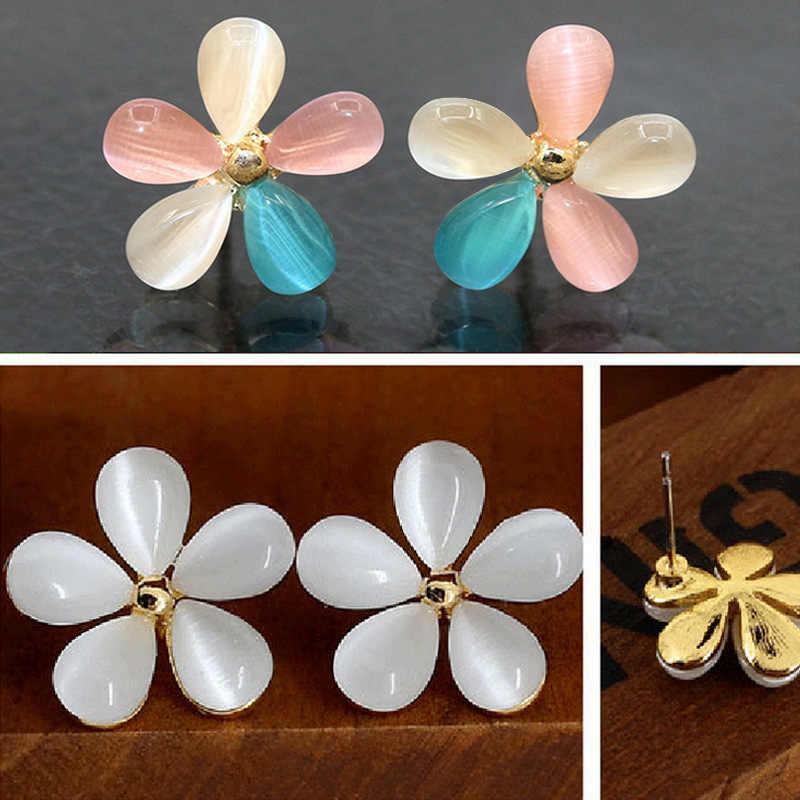Cat Eye Stone Flower Brincos Strass Cherry Blossoms Brinco Para As Mulheres Da Moda Jóias Orelha Pendientes