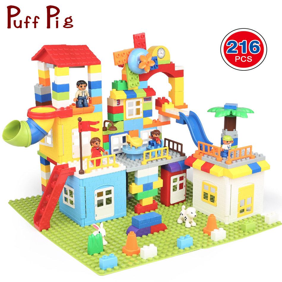 216PCS DIY Family House City Train Cars Big Size Building Blocks Compatible Legoed Duploed Animal Figures Creative Toys For Kids stylish auto cable wire cord organizer smart wrap bobbin winder for earphone