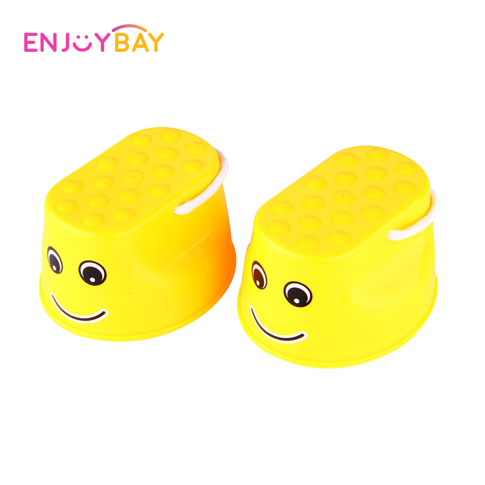 Enjoybay 1 Pair Children Outdoor Fun Toys Balance Training Smile Face Jumping Stilts Shoes Sports Funny Gadgets Amusement Toys