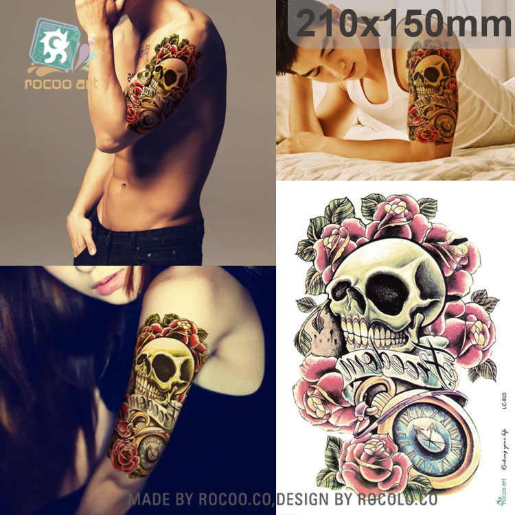 Rocooart Large Skull Tattoos 3d Tattoo Men Henna Fake Tattoo Sleeve Arm Sticker For Body Art Scary Halloween Tatouage Sexy Taty