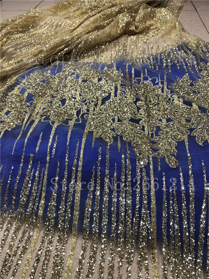 Gold Color Glued Glitter African Tulle Mesh Lace Fabric Best Quality Nigerian Embroidery Net Lace Fabric