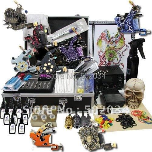 Tattoo Kit Dual LCD Power 8 Machines Guns 8 Grips Needles Machine  Supply free shipping