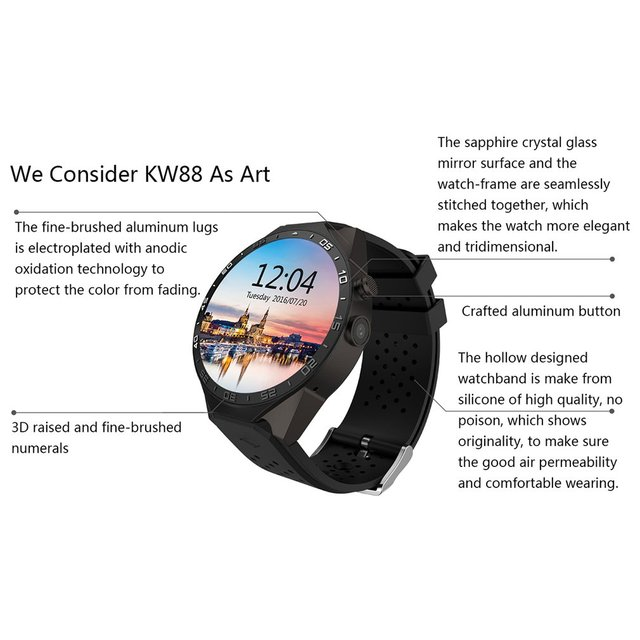 KW88 Smart Watch for Android 5.1 OS - Black Tarnish/Black Gold 2
