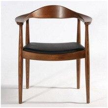Скандинавская цельная древесина для домашнего изучения ресторанный стул для переговоров офисный подлокотник стул